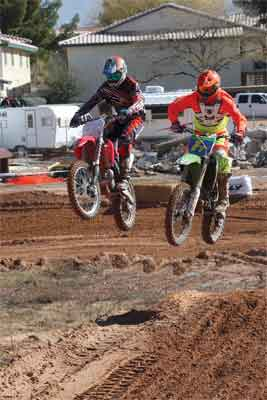 Local racers Cade Neilson (left) and Orey Woods (right) race side by side during the Mesquite Off-Road weekend at the Eureka Resort. PHOTO BY BRYAN SHELDON/Moapa Valley Progress.