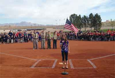 Moapa Valley Little League celebrates Opening Day March 21 with a flag ceremony by Troop 26 and the National Anthem by Jillian Hancock. PHOTO COURTESY OF SARAH WADSWORTH.