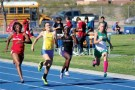MVHS freshman Alexis Schraft runs the 100 meter dash in the Richard Lewis Invitational Track Meet held at Moapa Valley High School on Friday. PHOTO BY VERNON ROBISON/Moapa Valley Progress.
