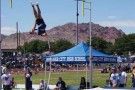 MVHS senior Caleb Witsken performed a record-breaking pole vault and became State Champion during the State track meet on Saturday. This photo shows Witsken vaulting the previous week at the regionals  in Boulder City. PHOTO BY DAVE BELCHER/Moapa Valley Progress.