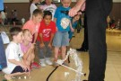 Young attendees of the Moapa Library summer program got an up close look at the Fratello Marionettes used in the variety show June 25. PHOTO BY WESLIE STRATTON/Moapa Valley Progress.