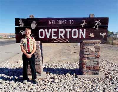 "Local Scout Joseph Muhlestein gave the old ""Welcome to Overton"" sign a major overhaul for his Eagle Scout project. PHOTO BY DANIELLE PRAY/Moapa Valley Progress."