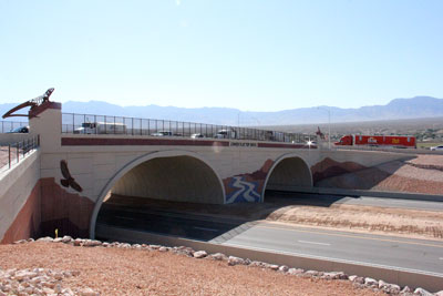 The new I-15 overpass at Exit 118 in Mesquite features arches and artwork inspired by the local viewscape. PHOTO BY VERNON ROBISON/Moapa Valley Progress.